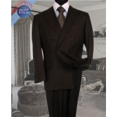 Brown Pinstripe Double Breasted Suit 100% Wool On Sale