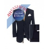 2-Button Mens Wool Navy Suit Ultra Smooth Fabric