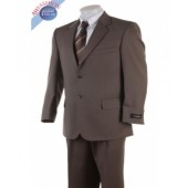 2-Button Brown Suit Made from Super High Twist Wool