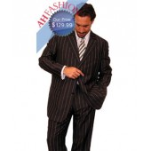 Wide Black Pinstripe Men's Suit Super High Twist 120's Wool Fabric