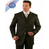 Men's Vested Solid Black 3 Button Vested