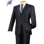 Midnight Blue Men's 2-Button Slim Fit Fine Shawdow Stripe Suit