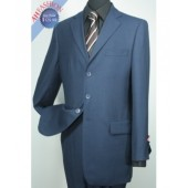 Men's Light Navy Suit 3-button 100% Wool