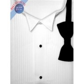 White Cotton Blend Tuxedo Shirt