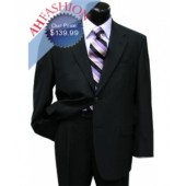 2 Button Super High Twist Wool Jet Black Suit Non Vented, Super 100s