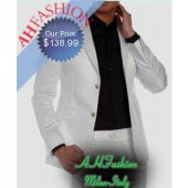 Rare 2-Button Super 120s  White  Wool Suit Now Available ONLY on AHFASHION, Only $138.99